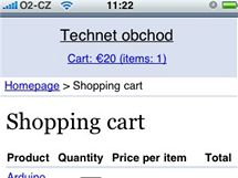 Webnode e-shop na iPhone