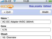 Webnode e-shop na iPhone