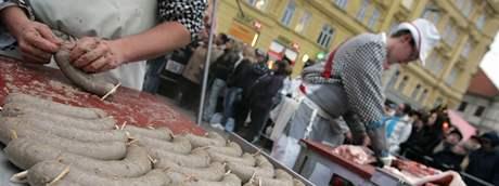Moravská zabijačka na brněnském náměstí Svobody