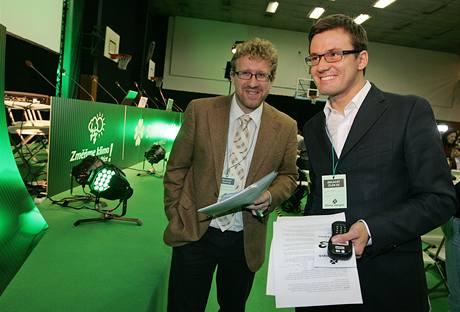 Ondřej Liška s Martinem Anderem na sjezdu Strany zelených (5. 12. 2009)