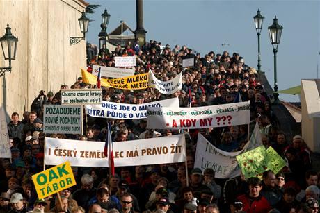 Protest zemědělců v Praze. (2. prosince 2009)