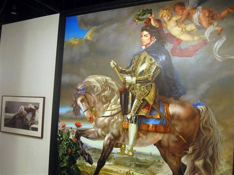 Portrét Michaela Jacksona na koňském hřbetě.
