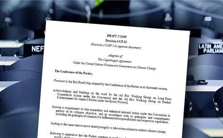 Originál tajného dokumentu, který unikl na summitu v Kodani do médií.
