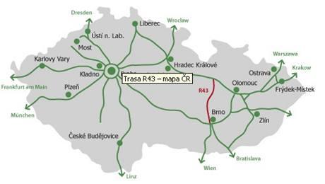 Trasa rychlostní silnice R43 na mapě České republiky.