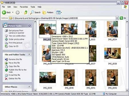 Microsoft RAW Image Thumbnailer and Viewer for Windows XP