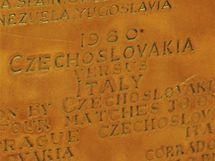 Davis Cup: Cedulka se jmény československých vítězů z roku 1980