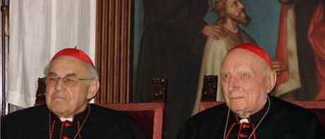 Kardinál Miloslav Vlk a kardinál Tomáš Špidlík (vpravo)