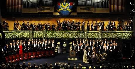 Předávání Nobelových cen ve švédském Stockholmu. (10. prosince 2009)