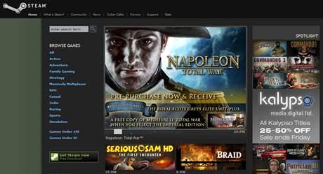 Úvodní stránka online obchodu Steam