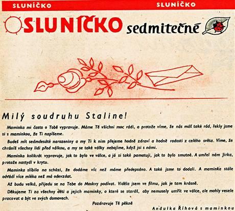 Časopis pro děti Mateřídouška; prosinec 1949. Dopis Stalinovi.