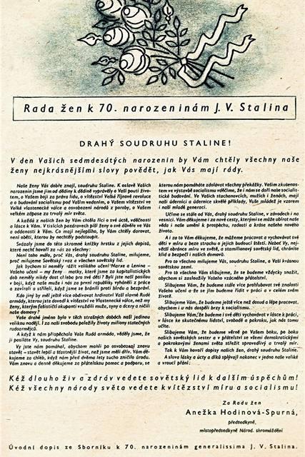 Úvodní dopis ze Sborníku k 70. narozeninám generalissima J. . Stalina; prosinec 1949