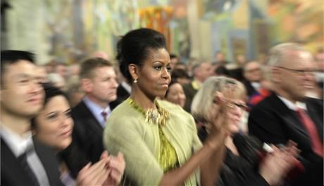 Michelle Obamová v Oslu sleduje přebírání Nobelovy ceny za mír, kterou získal její manžel a americký prezident Barack Obama. (10. prosince 2009)