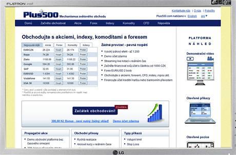 Ilnternerové stránky Plus500.cz
