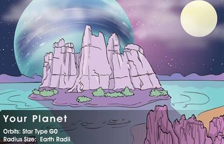 Vizualizace planety s vodou v tekutém stavu ze simulátoru mise Kepler