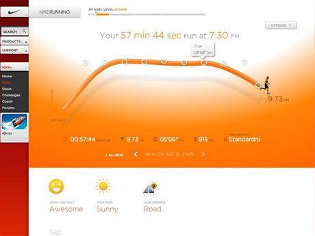 Nike+ - Na stránce můžete podrobvně studovat váš běh. Zlomové body jsou vždy označeny počtem uběhnutou vzdáleností a tempem. Můžete si také označit jaké bylo počasí, jak se vám běželo a kudy terén cesty.