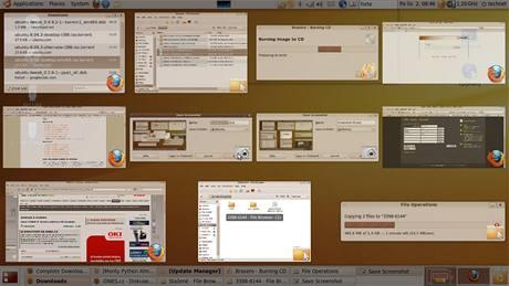 """GNOME díky Compizu nabízí ohromné možnosti přizpůsobit si efekty grafického rozhraní vlastnímu vkusu a potřebám. Zde je efekt """"Zobrazit okna"""""""