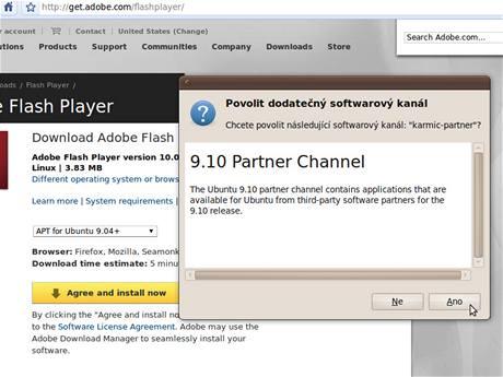 Flash nepatří do základní výbavy Ubuntu, jde o proprietální produkt