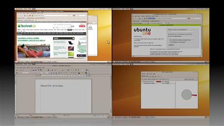 Mnoho uživatelů Linuxu je zvyklých používat více než jednu plochu. Počet virtuálních ploch je téměř libovolný (zde 2 x 2) a přepínat mezi nimi mohou velmi efektivně.