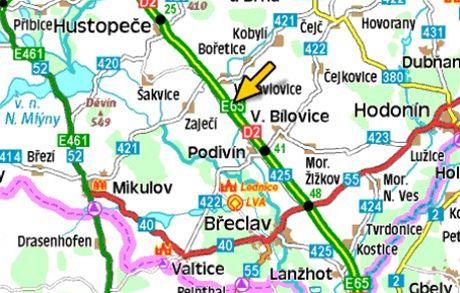mapa - nehoda na D2 (35. kilometr)