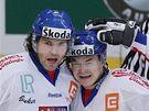 Český jásot: Jágr a Hudler se radují z gólu - Jágr a Hudler se radují z gólu do sítě Finska.