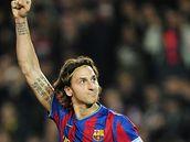 Zlatan Ibrahimovic (Barcelona) - �to�n�k Zlatan Ibrahimovic z Barcelony se raduje z g�lu.