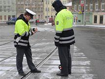 Místo střetu tramvaje s chodcem na Jugoslávské ulici v Brně