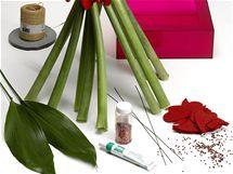 Připravte si lichý počet stonků hvězdníku, čtvercovou vázu nebo misku, filcová srdíčka, listy aspidistry, drátky, lepidlo, lepicí pásku a třpytky.