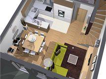 Útulná obývací kuchyně bez módních výstřelků