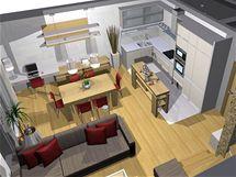 Obývací kuchyně ve třech variantách je útulná a bez módních