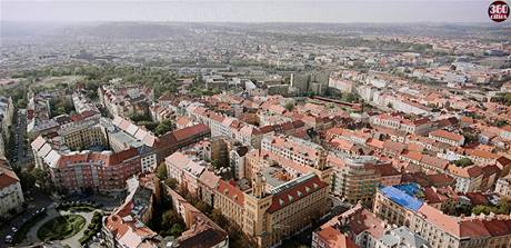 Detailní panoramatická fotografie Prahy.