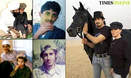 Usáma bin Ládin se svým desetiletým synem Alim, Saad bin Ládin; Omar Usáma bin Ládin se svojí ženou Zainou, Usáma bin Ládin, Muhammad a Bakr bin Ládinovi.