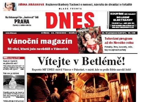 Titulní strana MF DNES z 23. prosince 2009