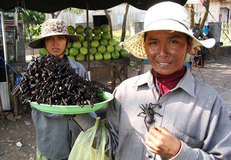 Kambodža, městečku Skuon se přezdívá Spiderville. Oblíbenou pochoutkou jsou tu pavouci