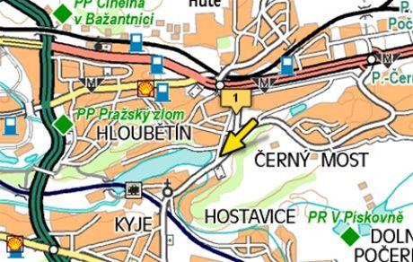 mapa - nehoda Broumarská ulice v Kyjích