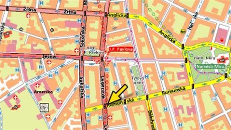 mapa -Legerova x Rumunská