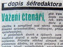 Vydání deníku Mladá Fronta 24. prosince 1989.