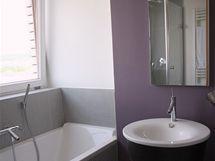 Manželé se nebáli neobvyklé barevné kombinace bílé, světle šedé a tlumeně fialové, ani umyvadla-vědra od designéra Philippa Starcka