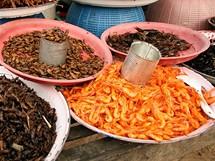 Kambodža. Pestrá nabídka jednohubek – od krevet až po kobylky