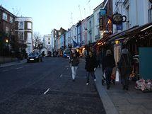 Lokace z filmu Notting Hill - Portobello Road v prosinci