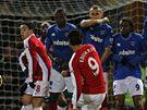 Portsmouth - Arsenal: hostující Eduardo (v červeném) právě skóruje