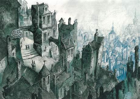 Ilustrace je z nejnovější knihy Pavla Čecha Tajemství ostrova za prkennou ohradou.
