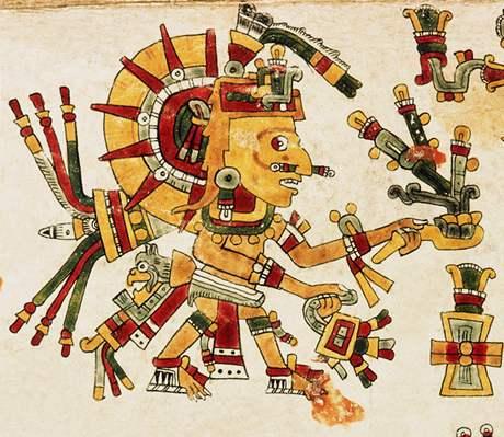 Codex Cospi - detail aztéckého věšteckého kalendáře.