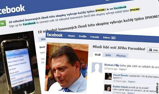 P�vodní a nová podoba skupiny na Facebooku, která nejprve lákala na iPhone, pak na Paroubka.