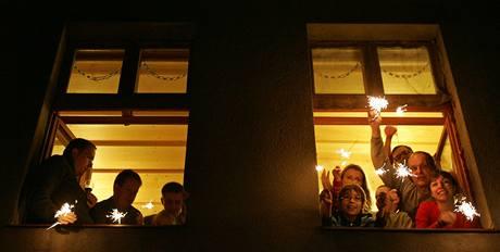 Oslavy nového roku v Pardubicích. (31.12.2009)