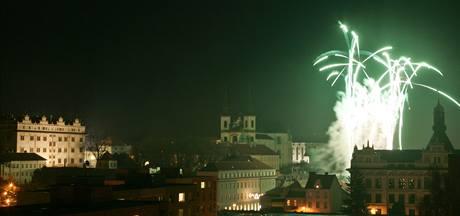 Silvestrovský ohňostroj v Litomyšli. (31.12.2009)