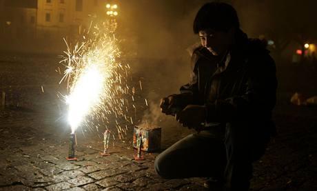 Vítání nového roku na náměstí v Uherském Hradišti. (31.12.2009)