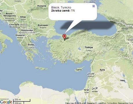 Mapa Bilecik, Turecko