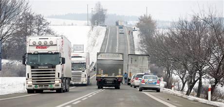 Místo tragické nehody u Olbramovic (5.1.2010)