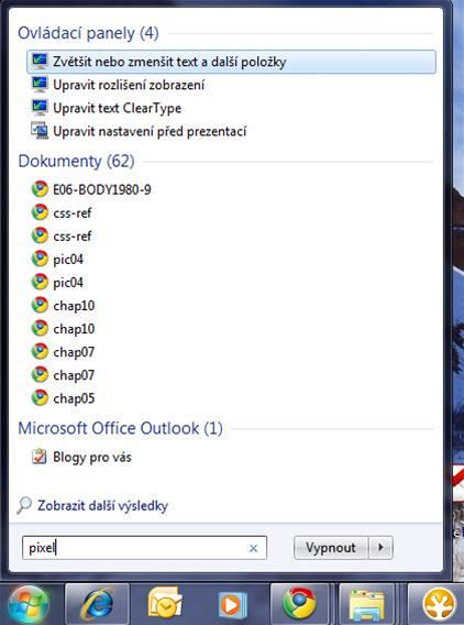 Vyhledávání v nabídce Start obsahuje (podle nastavení) výsledky z Ovládacích panelů, Dokumenty, Outlookem, programy apod.