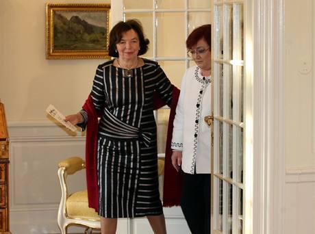 Livia Klausová a Dana Fischerová na zámku v Lánech